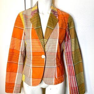 Isaac Mizrahi Orange Plaid Jacket M
